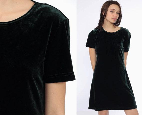 90s Green Velvet Dress -- 1990s Grunge Party Mini Short Sleeve Shift Sheath Cocktail Vintage Gothic Witch Minidress Goth Medium