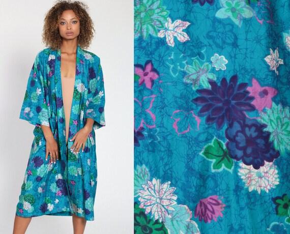Floral Kimono Robe Jacket Maxi 70s Bohemian Lingerie Japanese Dressing Gown Long Wrap Vintage Boho Hippie Blue Small Medium Large xl