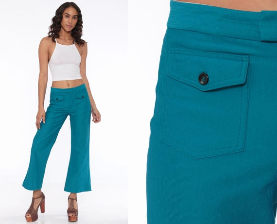 Teal Bell Bottoms Pants -- 70s Boho Hippie Mid Rise Bellbottom Pants Blue Flared 1970s Vintage Bohemian Polyester Trousers Small
