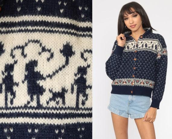 Novelty Print Sweater FAIR ISLE Cardigan Cream WOOL 80s Boho Susan Bristol Sweater 1980s Button Up Vintage Bohemian Navy Blue Medium