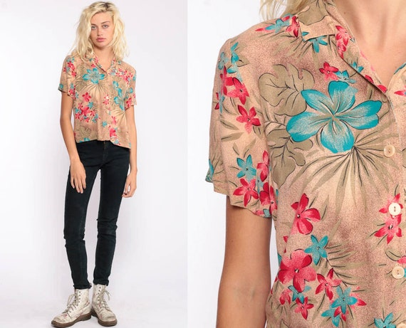 Tropical Shirt Hawaiian Blouse Floral Button Up 80s Vintage Surfer Vacation Short Sleeve Rayon Retro Top 90s Tan Small