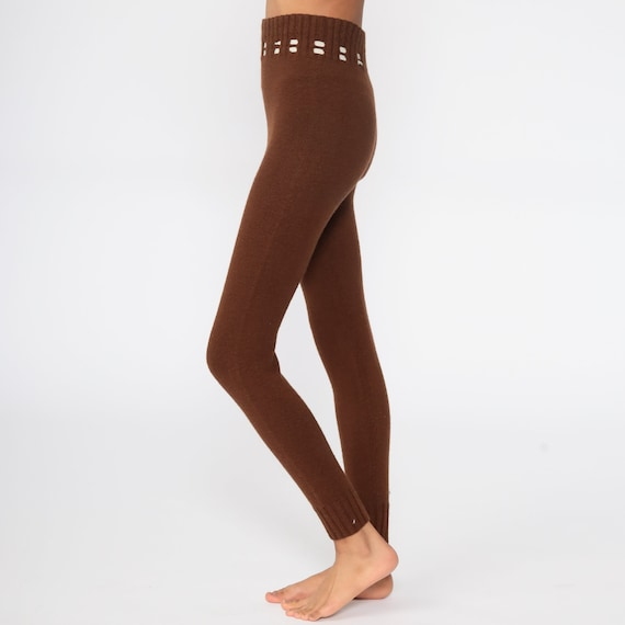 70s Knit Pants Brown Knit Leggings High Waisted P… - image 5