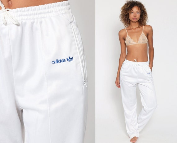 Adidas Track Pants 80s White Gym Jogging Running Track Suit 1980s USA Sports Vintage Retro Streetwear Small