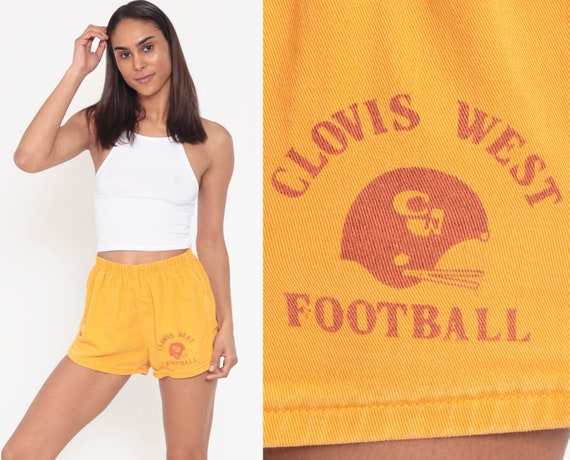 80s Jogging Shorts Clovis West FOOTBALL 80s Champion Running Shorts Gym Shorts Yellow High Waisted Retro College Sportswear Extra small xs