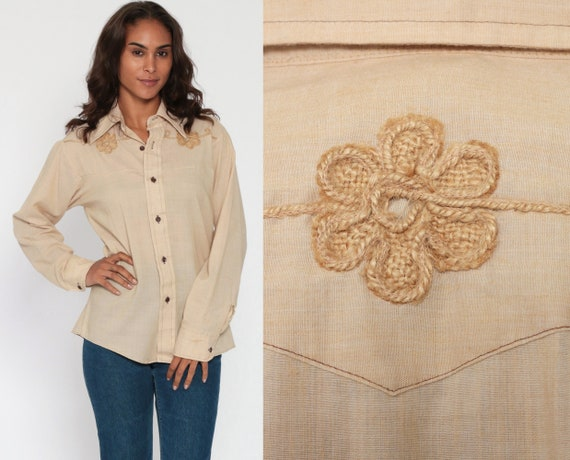 Western Shirt MACRAME Floral Blouse Button Up Shirt 70s Hippie Boho Paper Thin Cotton Vintage Bohemian Long Sleeve Tan Beige Small Medium