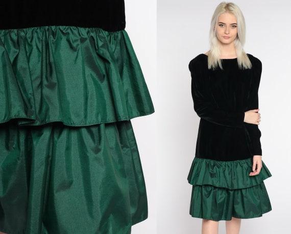 Velvet Party Dress 90s Green Velvet Tiered Dress Dress Drop Waist PUFF Sleeve Formal Sheath 80s Cocktail Medium