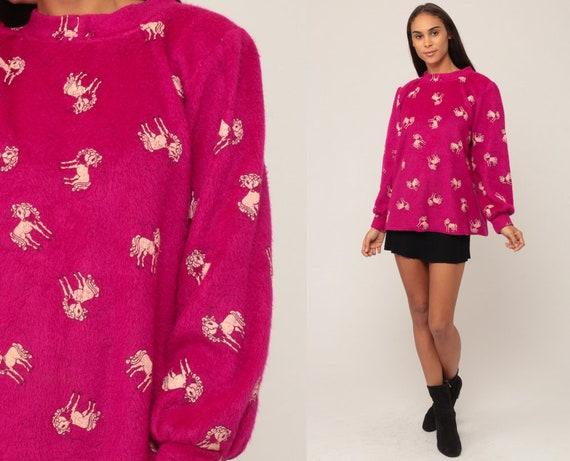 Unicorn Sweatshirt 80s Animal Shirt Unicorn HEART Sweatshirt Magenta FLEECE Sweatshirt Graphic All Over Print 1980s Vintage Medium