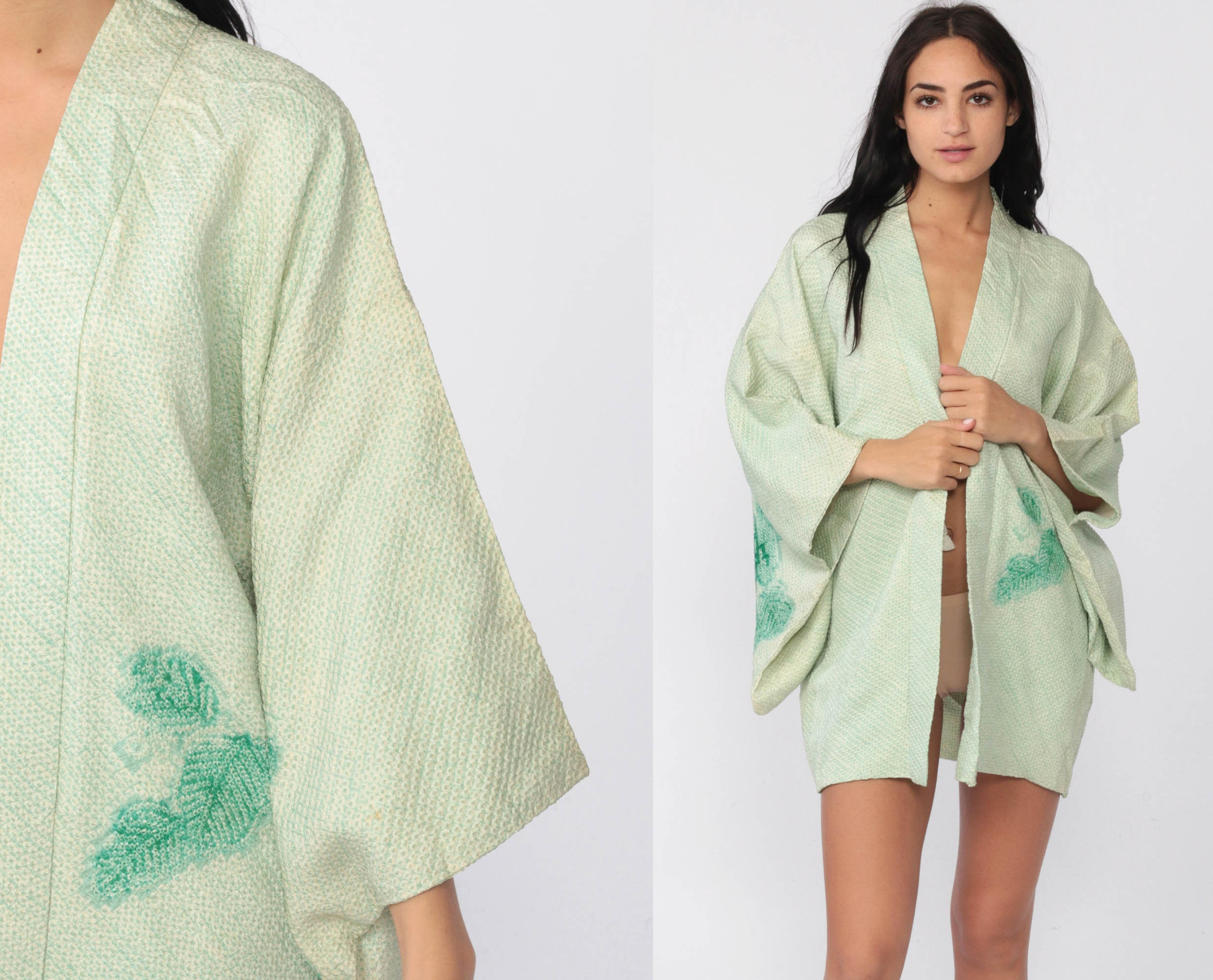 Japanese Kimono Robe 70s Bohemian Wrap Japanese Robe Dressing Gown Green Leaf Print Asian Vintage Boho Hippie Small Medium Large Xs