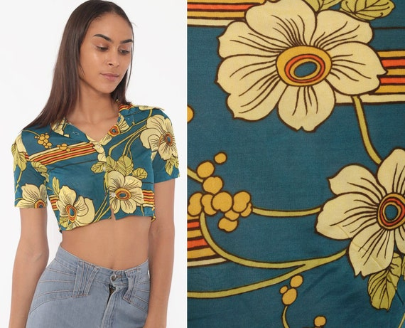 Floral Cropped Blouse Blue Hippie Shirt 70s Boho Crop Top Button Up Bohemian 1970s Vintage Boho Short Sleeve Extra Small xs