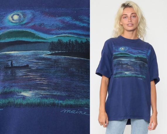 Maine Shirt Canoe Lake T Shirt 80s TShirt Single Stitch Purple Vintage Retro Graphic Shirt Screen Print 90s t shirt Extra Large xl l