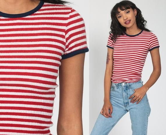 Striped Ringer TShirt -- 70s T Shirt Red White Retro Tee Vintage Ringer Tee Minimalist Stranger Things 1970s Where's Waldo Small s