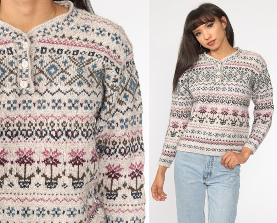 Fair Isle Wool Sweater 80s Taupe Geometric Knit Sweater Nordic Print 1980s Hipster Statement Vintage Pullover Retro Medium