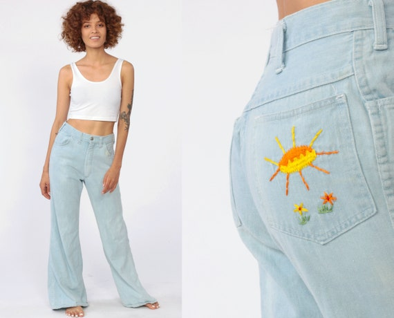 Hippie Bell Bottoms Jeans SUNSHINE + MUSHROOM High Waisted 70s Denim Pants Boho 1970s Vintage Bohemian Faded Blue Jeans Flared Leg Small