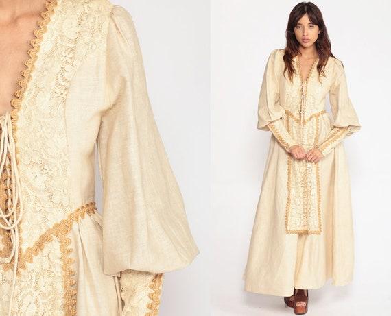 Gunne Sax Dress Maxi Cream Crochet LACE Corset 70s Boho Sheer Puff Sleeve 60s Bohemian Wedding Dress Hippie Vintage Prairie Small Medium