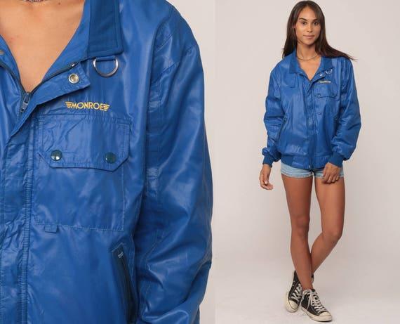 Cafe Racer Jacket 80s Bomber Windbreaker Royal Blue Moto Hipster Coat Vintage 1980s Medium Large