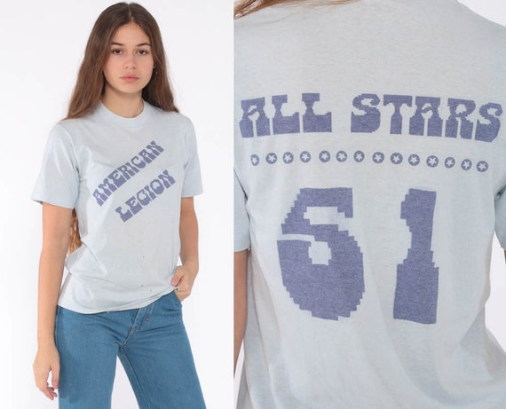 Vintage Burnout Shirt Graphic T Shirt 80s All Stars Slogan Paper Thin Tee 70s Retro TShirt 50/50 Cotton Poly Small