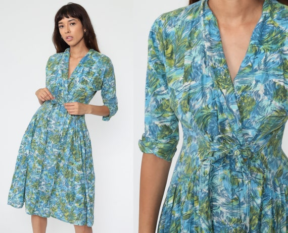 1950s Floral Dress Princess Peggy Dress Blue Day W