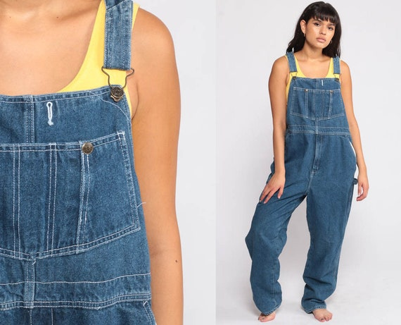 Overalls Pants Bib 90s Denim Pants FLANNEL LINED Jean Dungarees Wide Leg Baggy Coveralls Long Grunge Hipster Blue Carpenter Medium Large