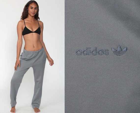 Adidas Track Pants 80s Grey Jogging Running Pants Track Suit trefoil 1980s Sports Vintage Retro Baggy Small