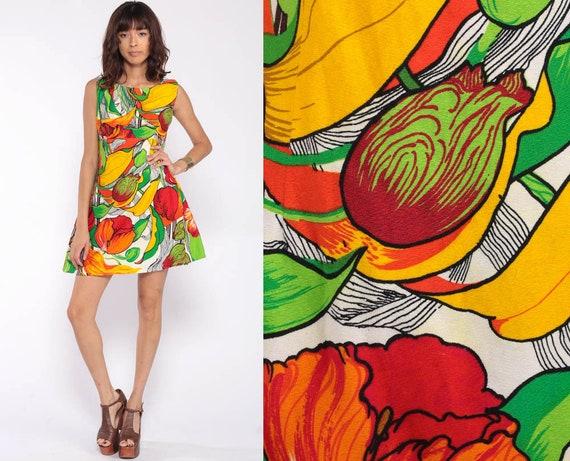 70s Babydoll Dress Hawaiian Mini Dress Floral Tropical Print Mod Empire Waist 60s Vintage Sleeveless Barkcloth Yellow Red Small