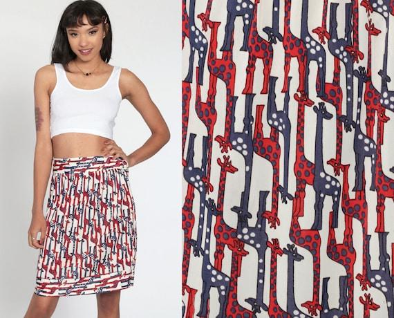70s Giraffe Skirt Boho Skirt Midi Skirt High Waisted Hippie Novelty Print Red White Blue 1970s Bohemian Vintage Medium