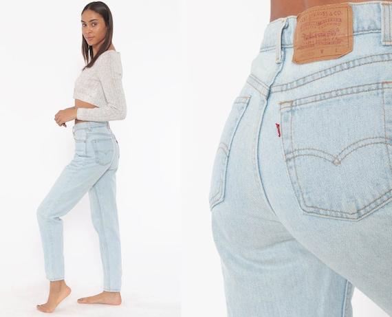 Light Blue Levis Jeans 26 -- 90s High Waisted Jeans -- Mom Jeans Denim Levi Strauss 80s Pants Slim Vintage Jean Pants Small 26
