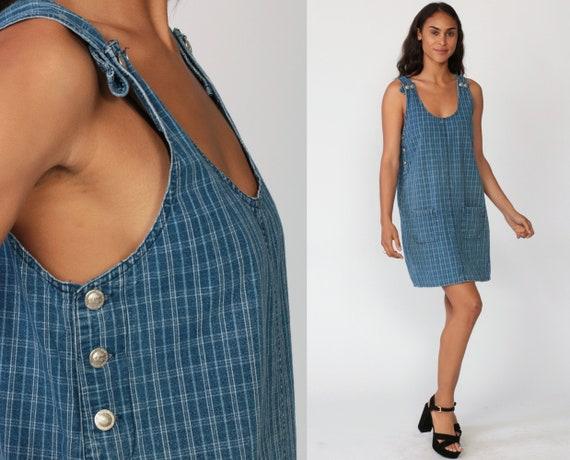 Denim Overall Dress 90s Jumper Dress Plaid Mini Jean Overalls Pinafore 1980s Checkered Tunic Pocket Blue Shift Low Armholes Small Medium