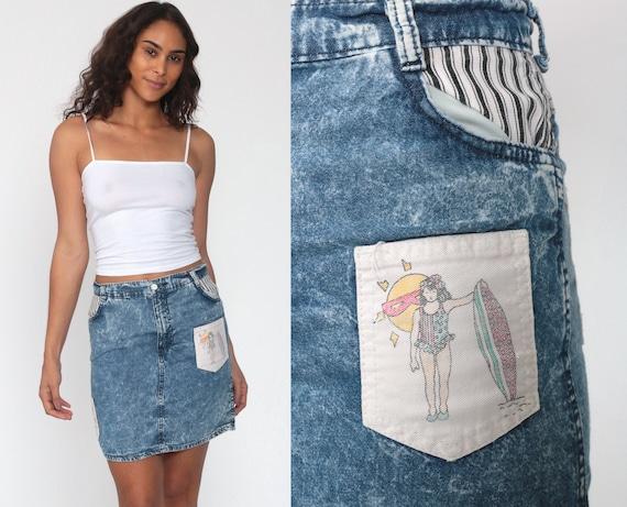 90s Jean Skirt Surfer Print Denim Mini Skirt Pencil Skirt Jeans 80s High Waisted Wiggle Retro Vintage Blue Acid Wash Extra Small xs