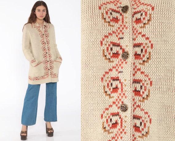 Cozy Boho Cardigan Sweater 70s Sweater Hippie Bohemian Sweater Beige 1970s Button Up Seventies Hippie Autumn Fall Warm Small Medium