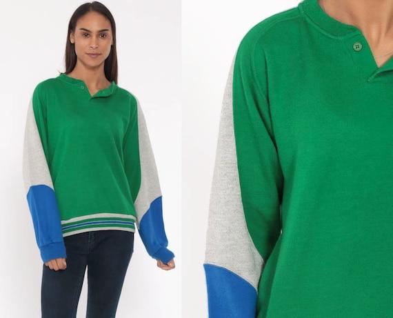 80s Striped Sweatshirt Green Pullover Blue Grey Polo Sweatshirt Soft Slouchy Raglan Sleeves Pocket 1980s Oversized Sportswear Small Medium