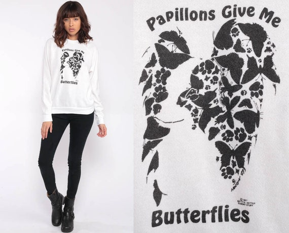 Butterfly Sweatshirt 80s Papillions Shirt French Jumper White Graphic Crewneck 1980s Hipster Sweater Vintage Shirt Slouchy Extra Small xs