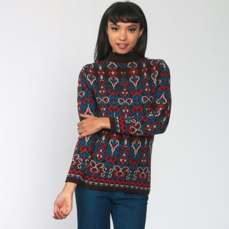1970s vintage blue knitted v-neck jumper with collar Small size Seventies Boho Bohemian