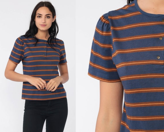 Puff Sleeve Top Blue Striped Polo Shirt Retro T Shirt 80s TShirt Blue Tee Shirt Brown Snap Tshirt Vintage 1980s Small