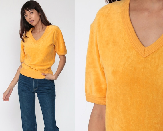Yellow Velour Shirt Retro T Shirt 80s TShirt V Neck Top 70s Slouchy Shirt Vintage 1980s Short Sleeve Sweatshirt Small