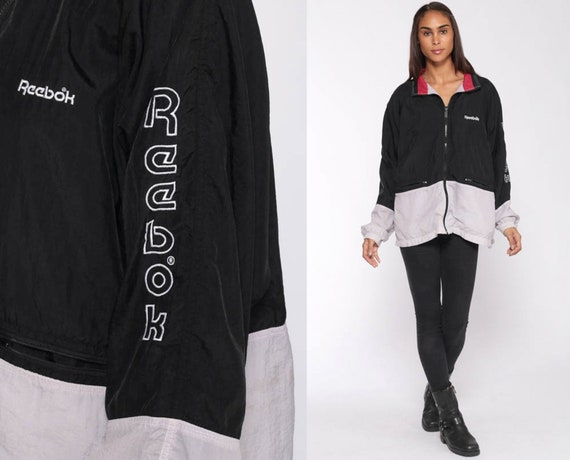 Reebok Windbreaker Jacket 90s Windbreaker Streetwear Black Grey Warm Up Sports Hipster Vintage Color Block Track Jacket Extra Large xl l