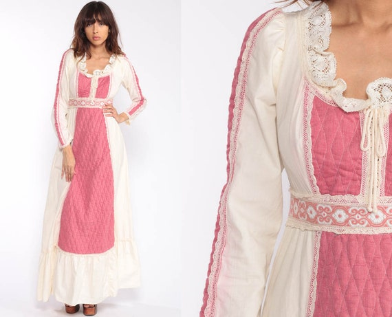 Gunne Sax Dress Vintage 70s Maxi Dress Pin Quilted LACE Boho Hippie Prairie Corset Crochet Bohemian Peasant Long Sleeve Pink Medium