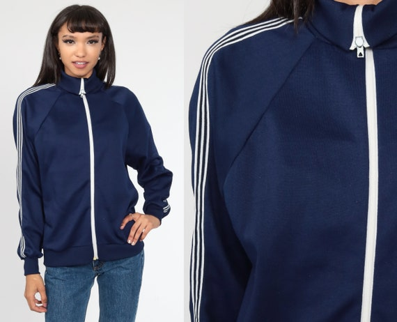 70s Track Jacket Blue Striped Jacket Zip Up Hipster Raglan Sleeve Navy Blue 1970s Sport Vintage Tracksuit Medium