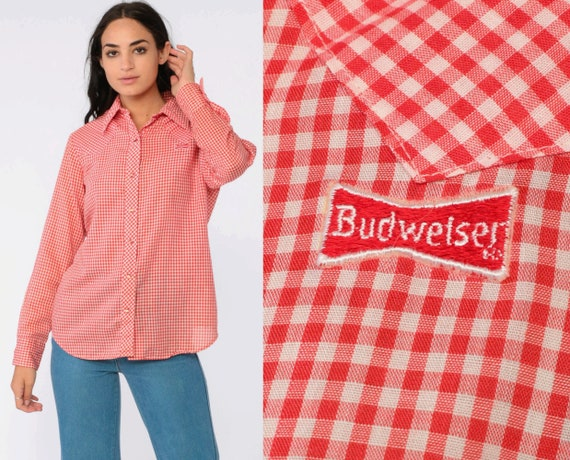 Red Gingham Shirt 70s BUDWEISER PATCH Western Shirt Pearl Snap Plaid Top Checkered Long Sleeve Button Up 1970s Plaid Vintage Medium Large
