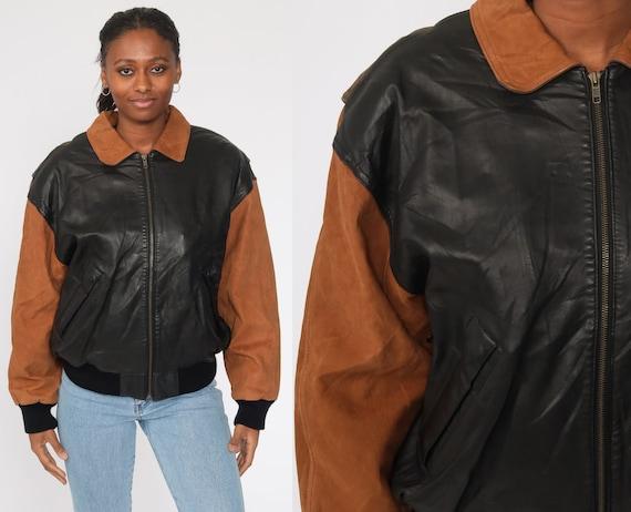 Leather Bomber Jacket Black + Brown Leather Biker