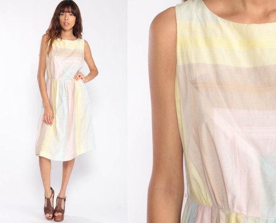 1960s Dress Pastel Dress Striped Dress 60s Cotton Day Midi Pin Up Sleeveless Vintage Mad Men Full Skirt Large