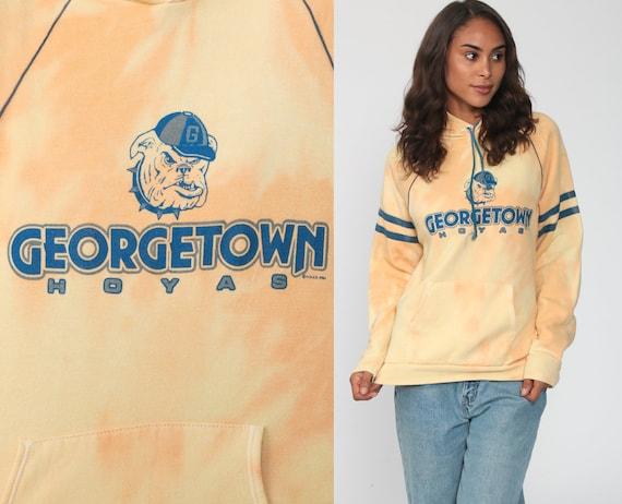 Georgetown Sweatshirt Bleach Dyed Hoyas Shirt Washington DC University 90s Hoodie Football Hood Pullover Hooded 1990s Vintage Small Medium