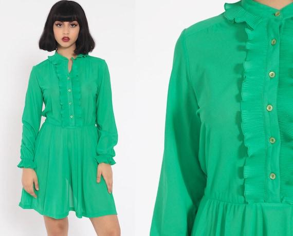 70s RUFFLE Dress Green Mini High Collar Semisheer Boho Button Up High Waisted Tuxedo Vintage Minidress Long Sleeve Bohemian Medium Large