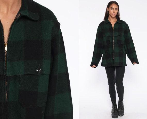 Plaid WOOLRICH Jacket Wool Coat 90s Buffalo Plaid Zip Up Jacket Lumberjack Grunge 1990s Vintage Green Heavyweight 80s Black Extra Large xl l