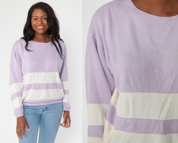 Pastel Striped Sweatshirt -- 80s Pastel Sweater Lavender Purple Stripe Print Slouch Pullover Jumper Crewneck Shirt Vintage Large