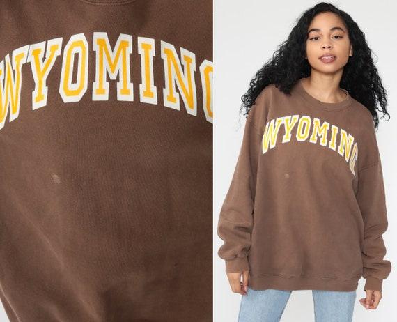 Wyoming Sweatshirt Brown University Shirt 1990s Graphic Sweatshirt US State Travel Slouchy Vintage Crewneck 90s College Extra Large xl l