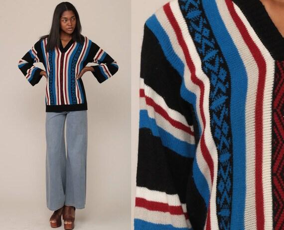 Boho Sweater Aztec 70s Bohemian Stripe Tribal BELL SLEEVE Ethnic Southwest V Neck Vintage 1970s Blue Black Pullover Festival Medium Large