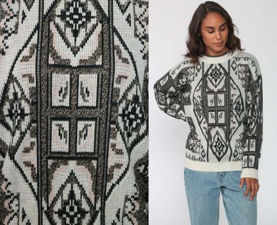 90s Knit Sweater 80s Cream Slouchy Retro GEOMETRIC Print Black Pullover Grunge 1980s Vintage Retro Medium Large