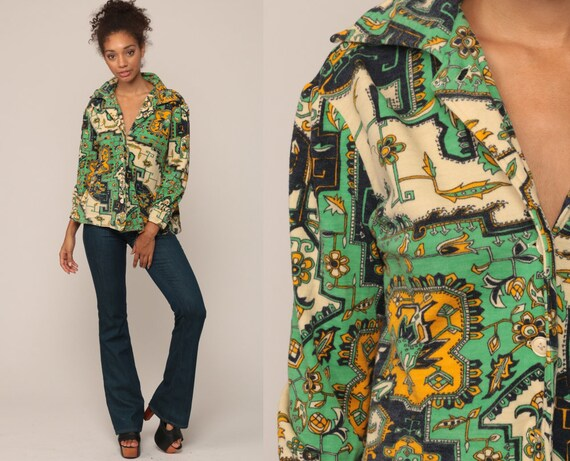 70s Boho Shirt Psychedelic Floral Blouse Floral Top Hippie 1970s Vintage Bohemian Button Up Long Sleeve Green Medium Large