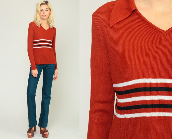 Rust Sweater 70s Sweater Striped Sweater Collared Boho Knit Hippie Bohemian Freaks and Geeks Nerd Pullover Vintage Retro Jumper Medium Large