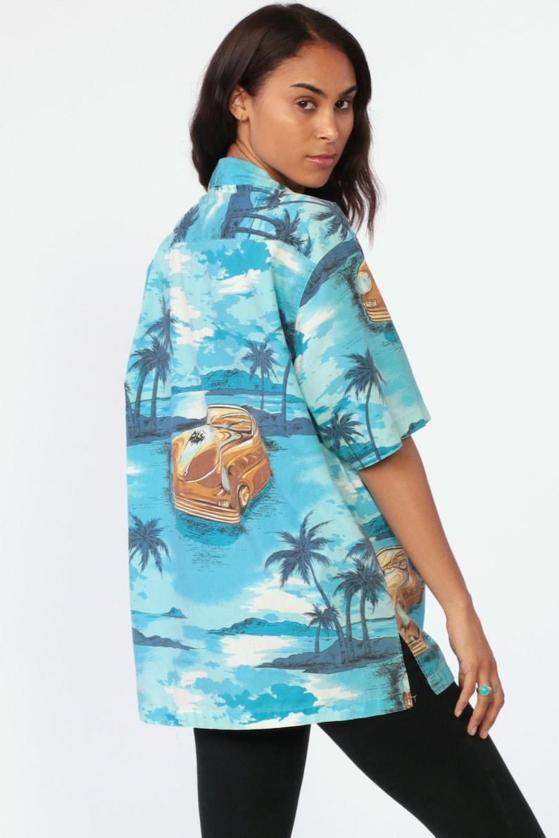 Tropical Car Shirt Surfer HAWAIIAN Blouse 80s Blue Top CLASSIC CAR Print Button Up Short Sleeve Surf Hipster Vintage Beach Extra Large xl l
